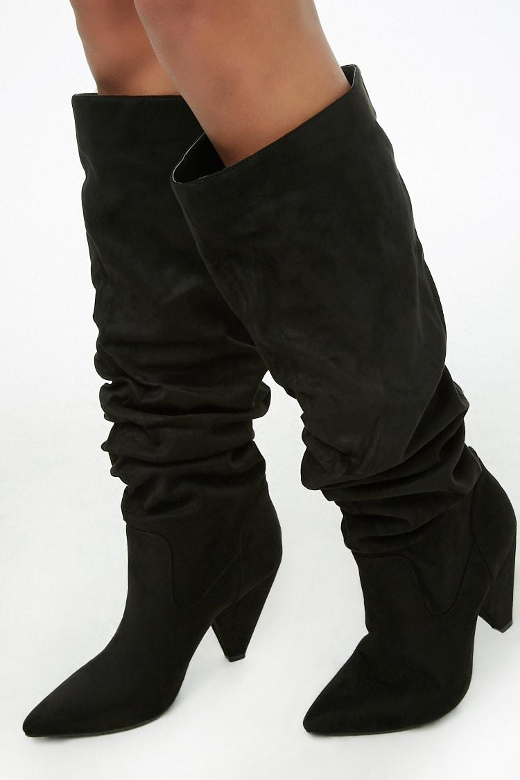 Buy BLACK Slouchy Knee-High Boots for