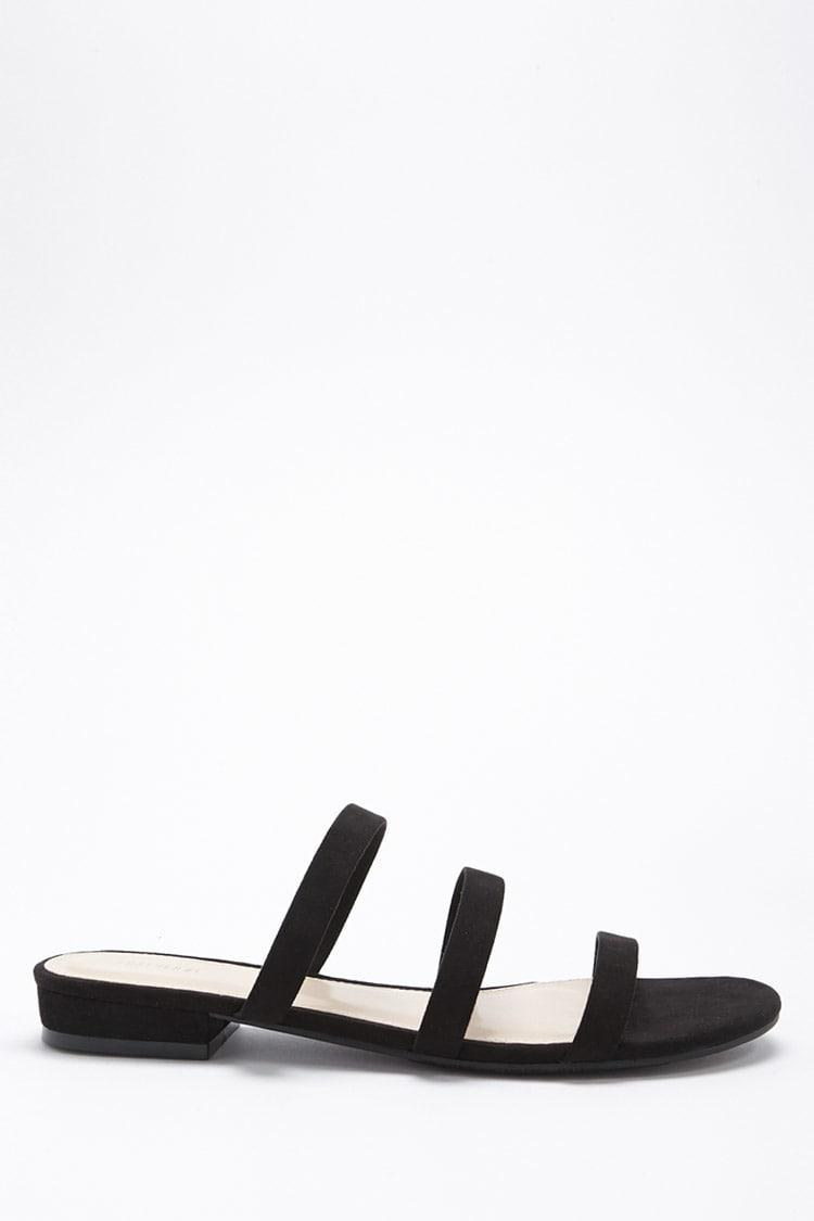 Strappy Faux Suede Slide Sandals
