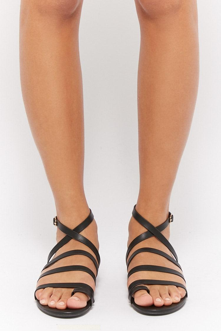 Buy BLACK Strappy Toe Ring Sandals for