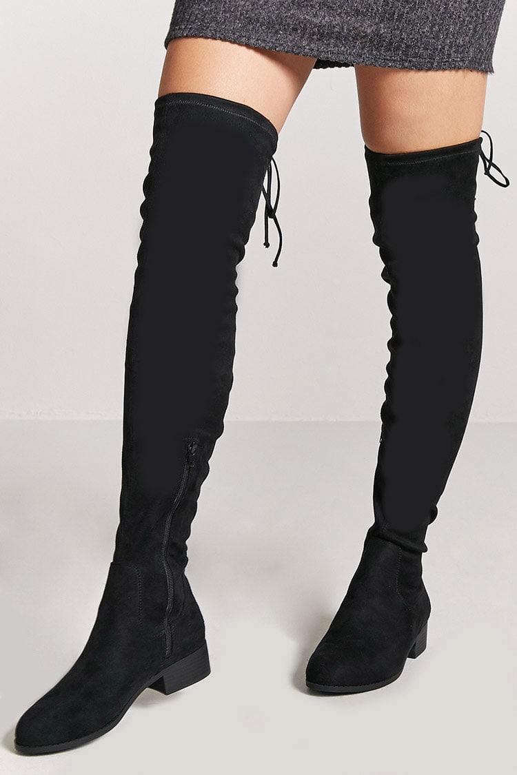 Buy BLACK Faux Suede Thigh-High Boots