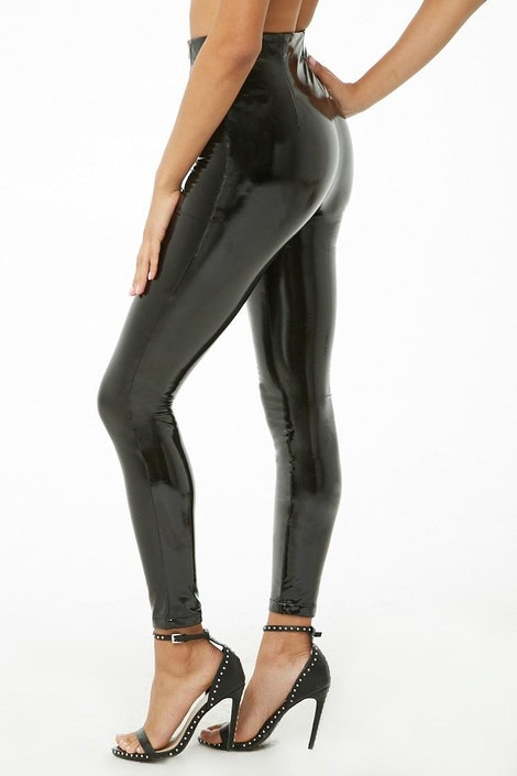 b39365313202 High-Rise Faux Patent Leather Pants