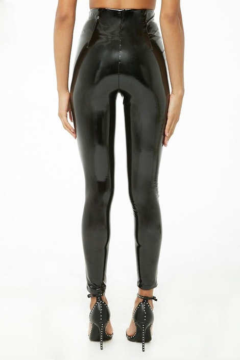 a5f870255475d High-Rise Faux Patent Leather Pants