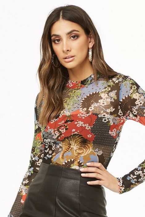 c21591fab4 forever21  KNIT TOP. Sheer Abstract Print Bodysuit. Sheer Abstract Print  Bodysuit