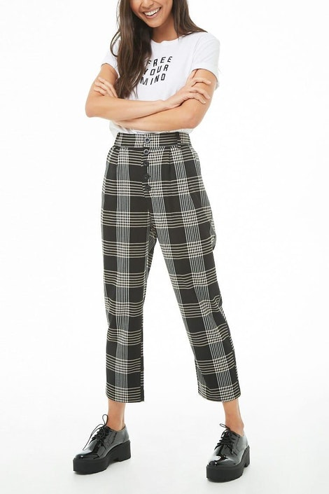 53100a95ade247 High-Rise Plaid Cropped Pants