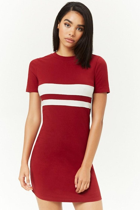 b80a883a0439 forever21 DRESS, Varsity-Striped T-Shirt Dress for Women at Forever21.in