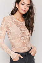 5e7c0c0474 Sheer Floral Lace Bodysuit