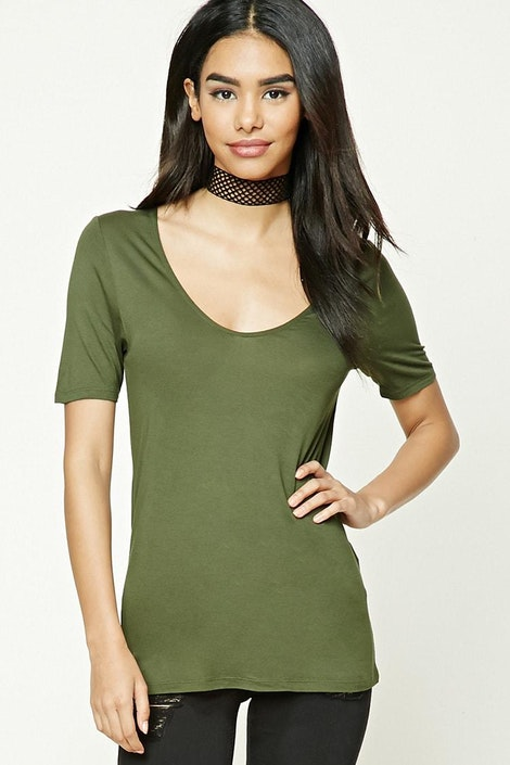 f39ab07c280add forever21 KNIT TOP, Deep V-Neck Tee for Women at Forever21.in