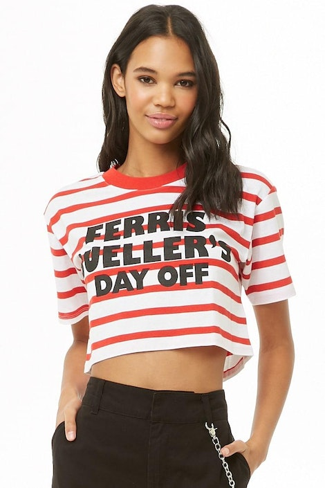 3f67653b3ca forever21 LOGO, Ferris Buellers Day Off Striped Cropped Tee for ...