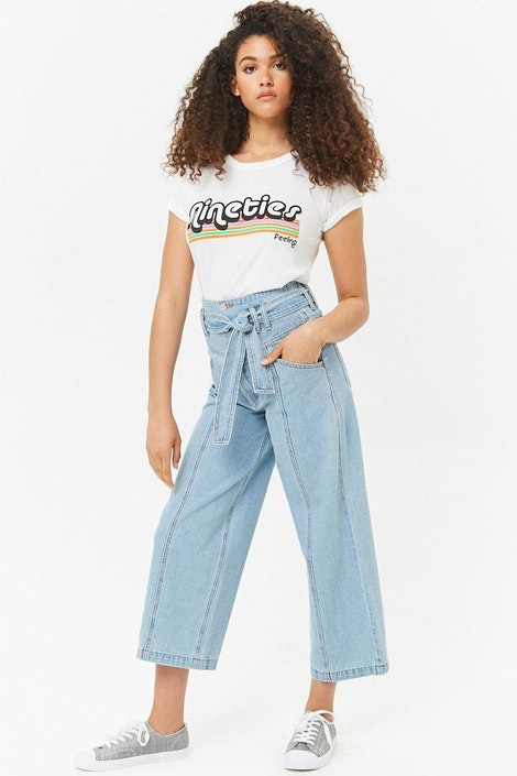 0898423bfc7980 forever21 DENIM PANT, Tie-Waist High-Rise Jeans for Women at ...
