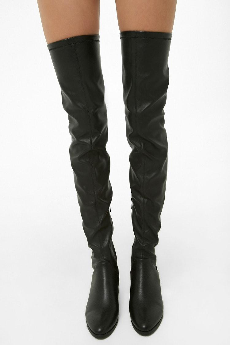 Buy BLACK Faux Leather Thigh-High Boots
