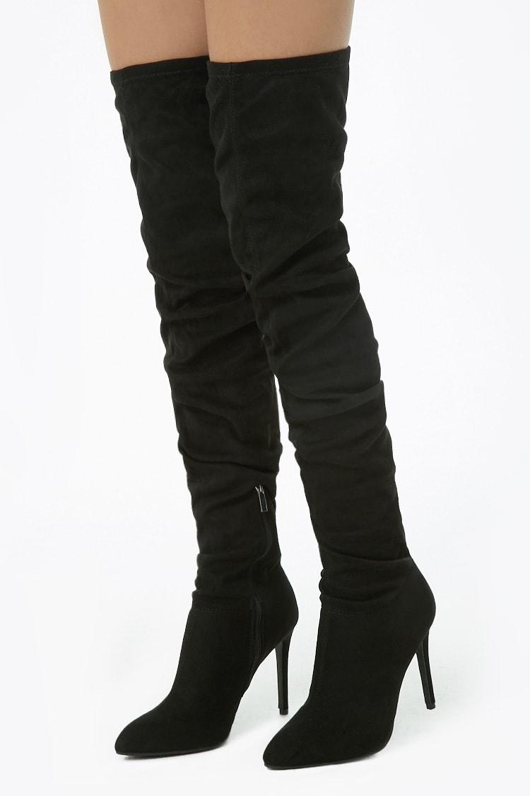 Buy BLACK Faux Suede Thigh High Boots