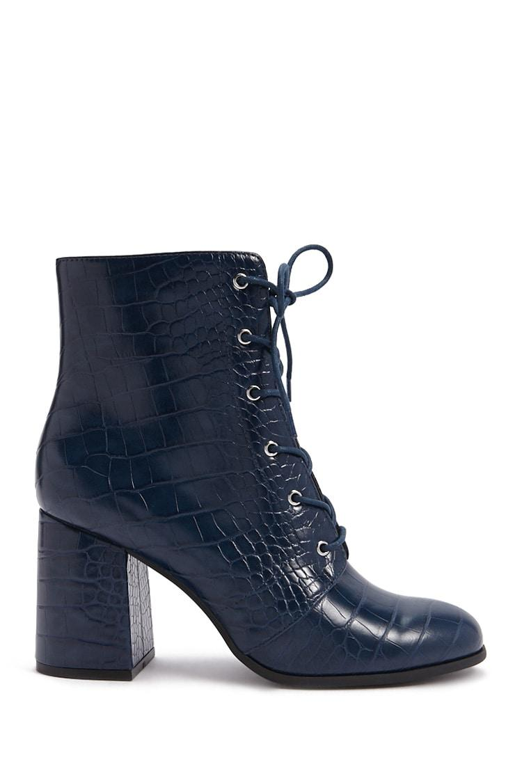Buy NAVY Faux Croc Leather Booties for