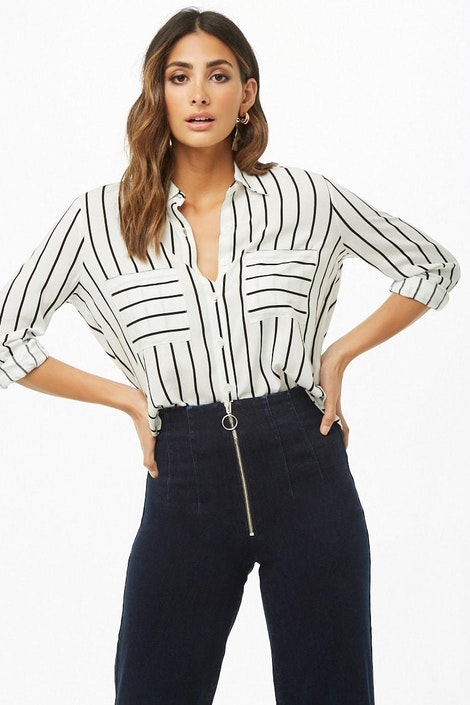 b9dc2bd3 forever21 WOVEN TOP, Striped Curved Hem Shirt for Women at Forever21.in