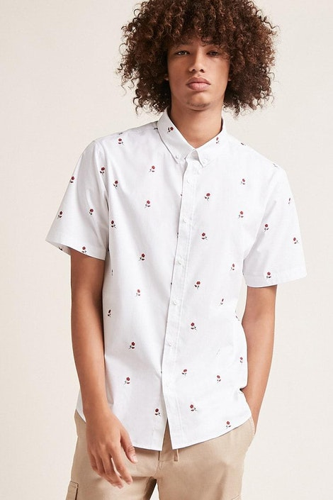 95441c17b44b forever21 WOVEN TOP, Slim-Fit Rose Print Shirt for Men at Forever21.in