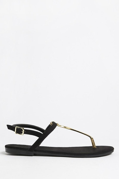 29148545d Metallic Faux Leather Thong Sandals