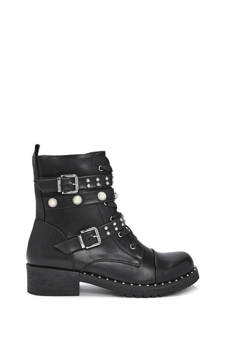 BLACK Studded Faux Leather Combat Boots