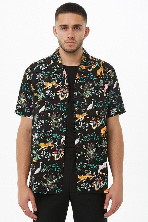 4e6643d3a2 forever21 WOVEN TOP, Jungle Print Cuban Collar Shirt for Men at ...