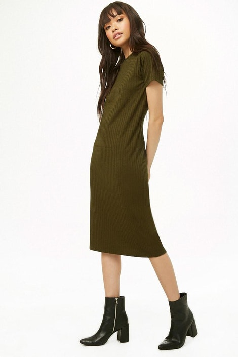 b05aa2082741 forever21 DRESS, Ribbed Knit T-Shirt Dress for Women at Forever21.in