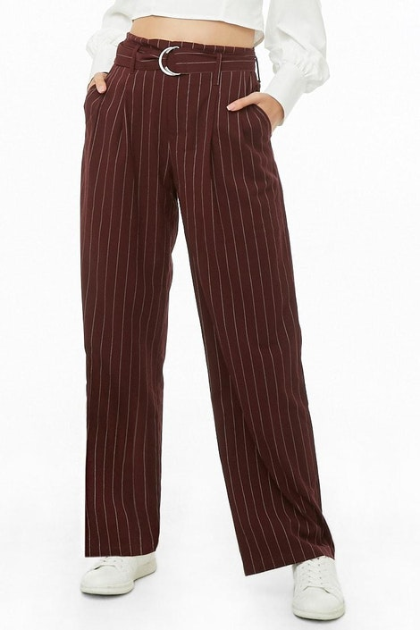 4466530581 forever21 PANT, Pinstriped High-Waist Pants for Women at Forever21.in