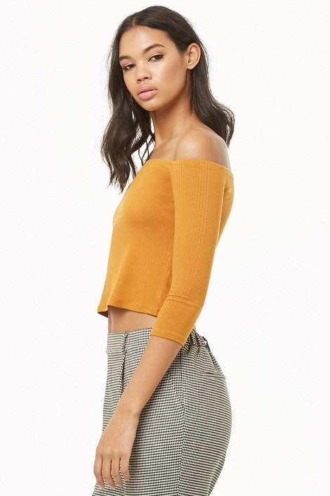 b3ea803350dc forever21 KNIT TOP, Ribbed Off-the-Shoulder Top for Women at ...
