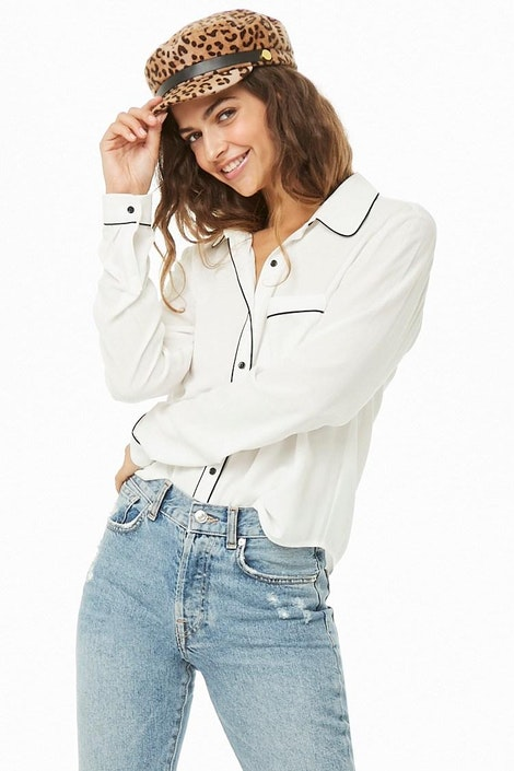 a770367ee56 forever21 WOVEN TOP, Contrast Piped-Trim Shirt for Women at Forever21.in