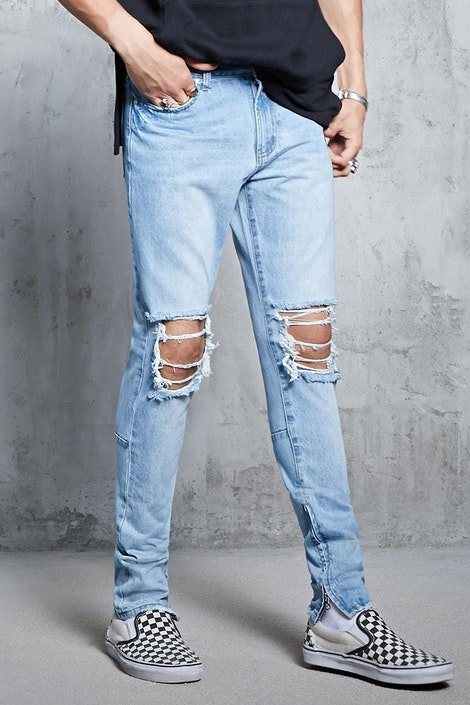caeb49c5ce71f forever21 DENIM PANT, Slim-Fit Zipper Hem Jeans for Men at Forever21.in