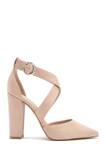 d84fa7e789a forever21 SHOES, Faux Suede Strappy Block Heels for Women at ...