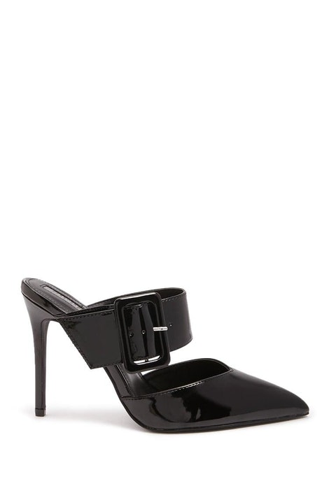 fd568a8c23 Faux Leather Buckle Mules