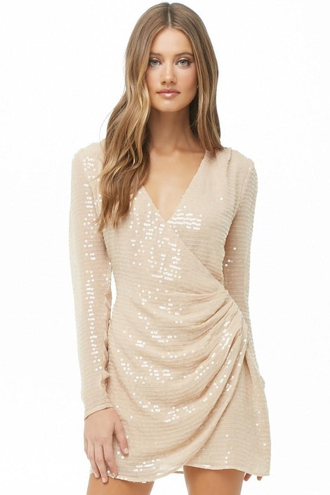 6c0a9cc7d18c92 Sequin Gauze Woven Surplice Dress
