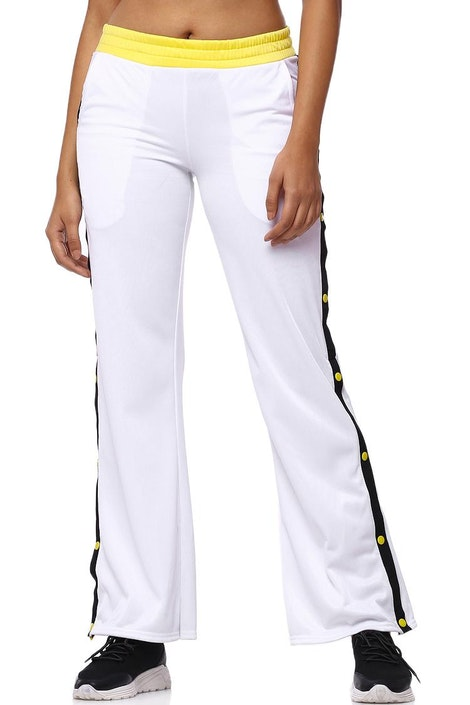 04c442c634 forever21 PANT, White / Yellow P&P Logo Long for Women at ...