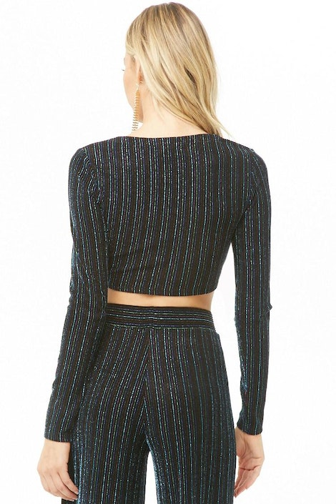 a2ac40e71e5 forever21 KNIT TOP, Metallic Striped Crop Top for Women at Forever21.in