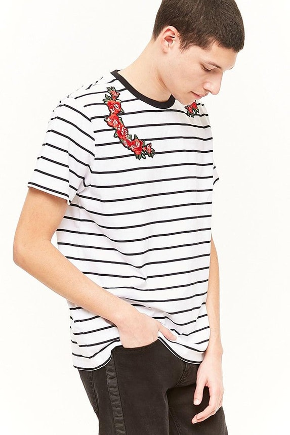 Striped Floral Applique Tee