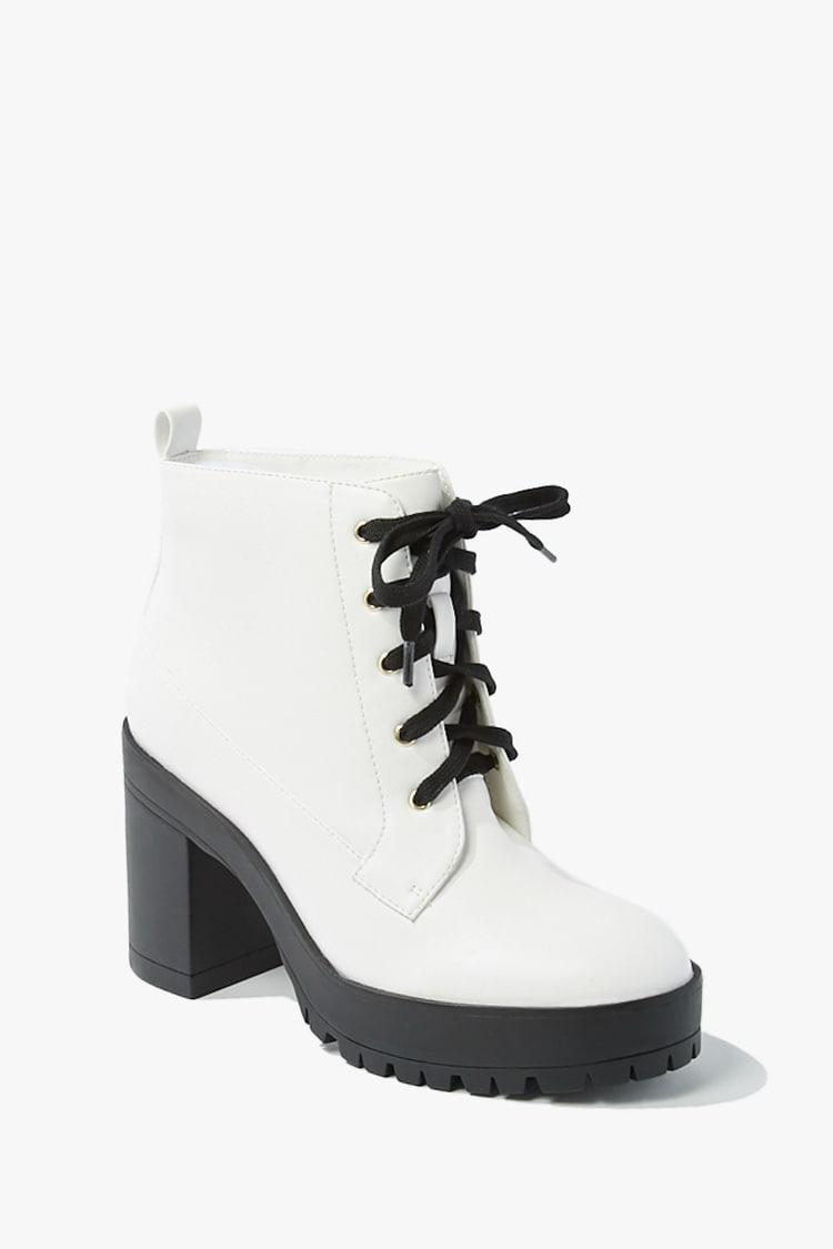 Faux Leather Lace-Up Ankle Booties