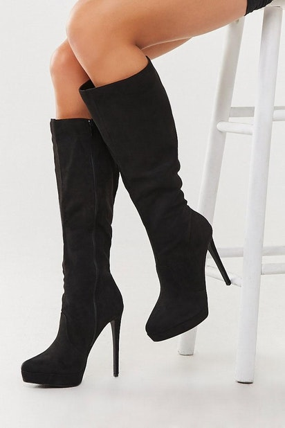 Buy BLACK Faux Suede Knee-High Boots for Women Online by Forever21 |  Forever21.in