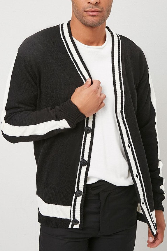 Striped-Trim Button-Front Cardigan