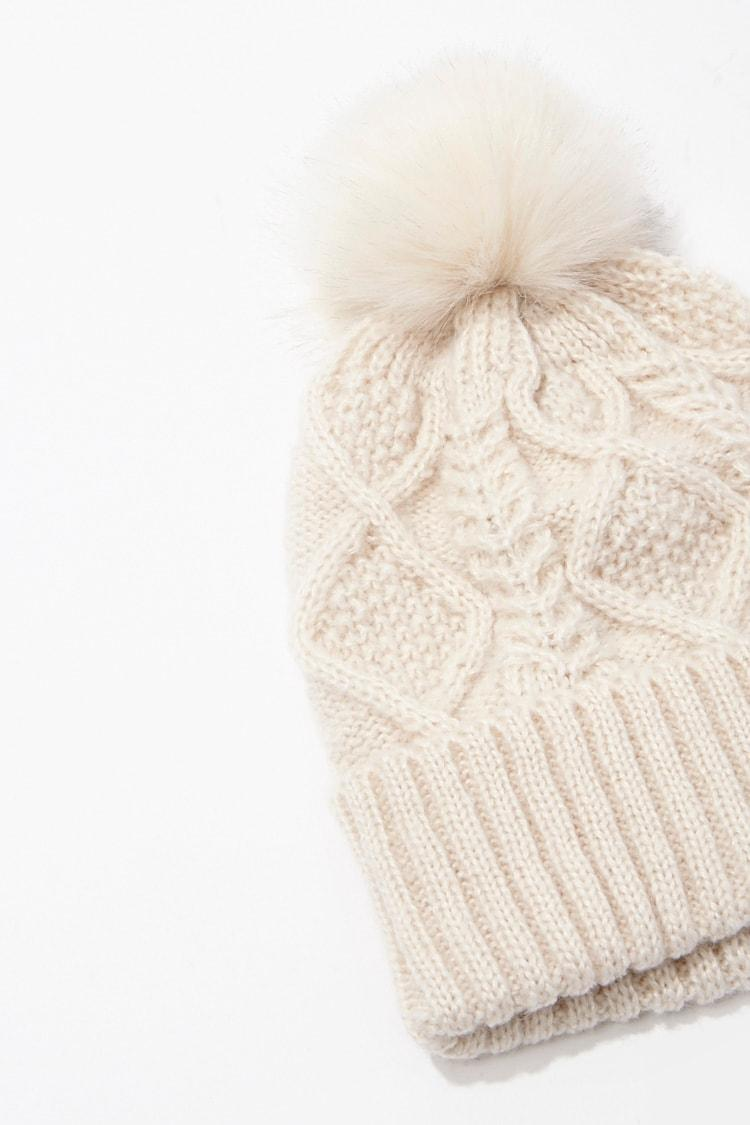 S Forever Kids Fleece-Lined Cable-Knit Beanie Hat Pom-Pom Wool Chunky Knit Hat