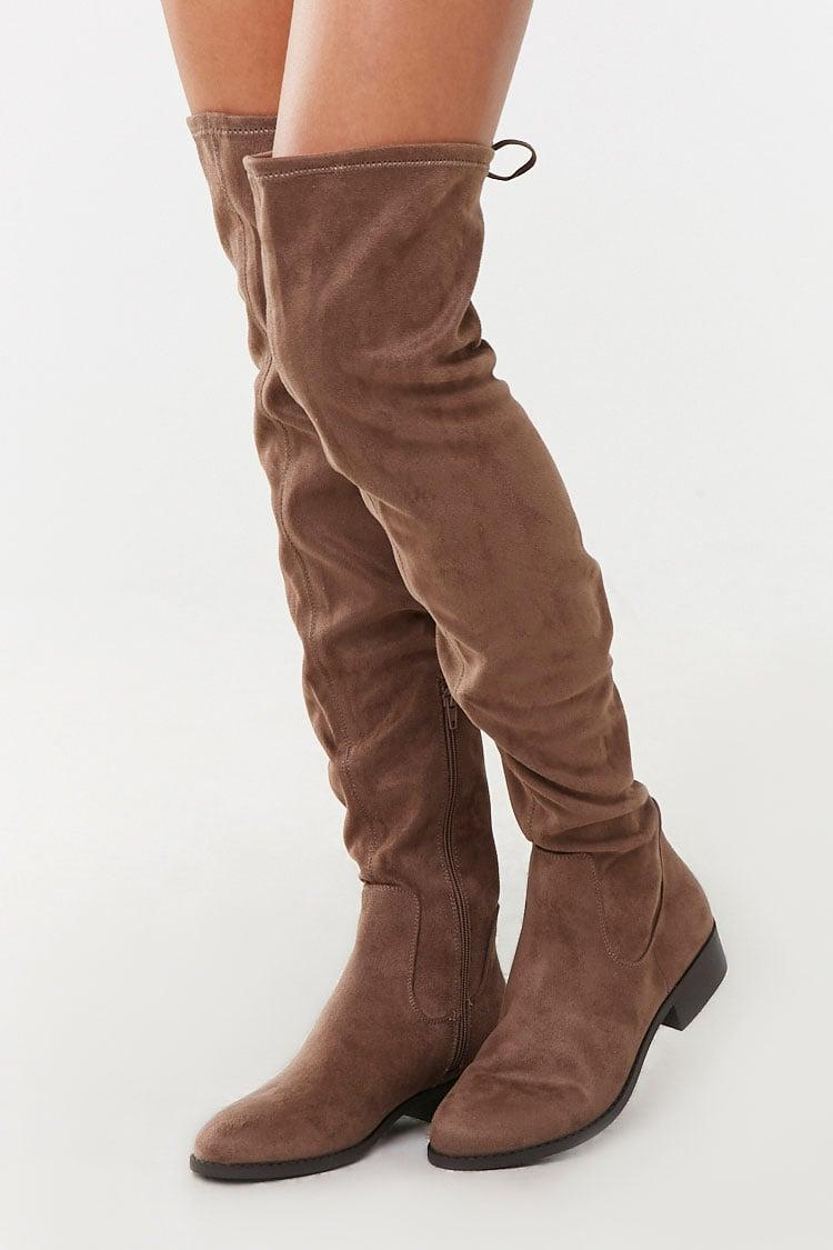 Buy Grey Faux Suede Over-the-Knee Boots