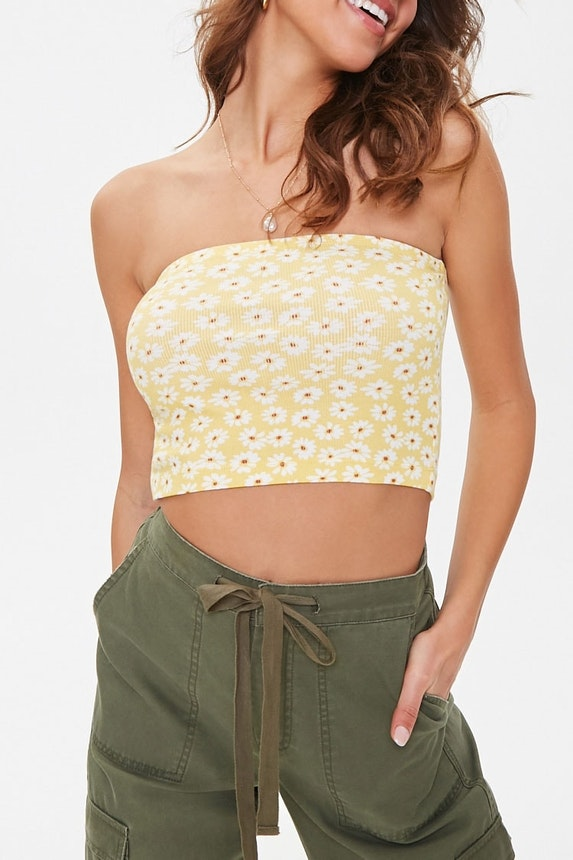 Daisy Print Cropped Tube Top