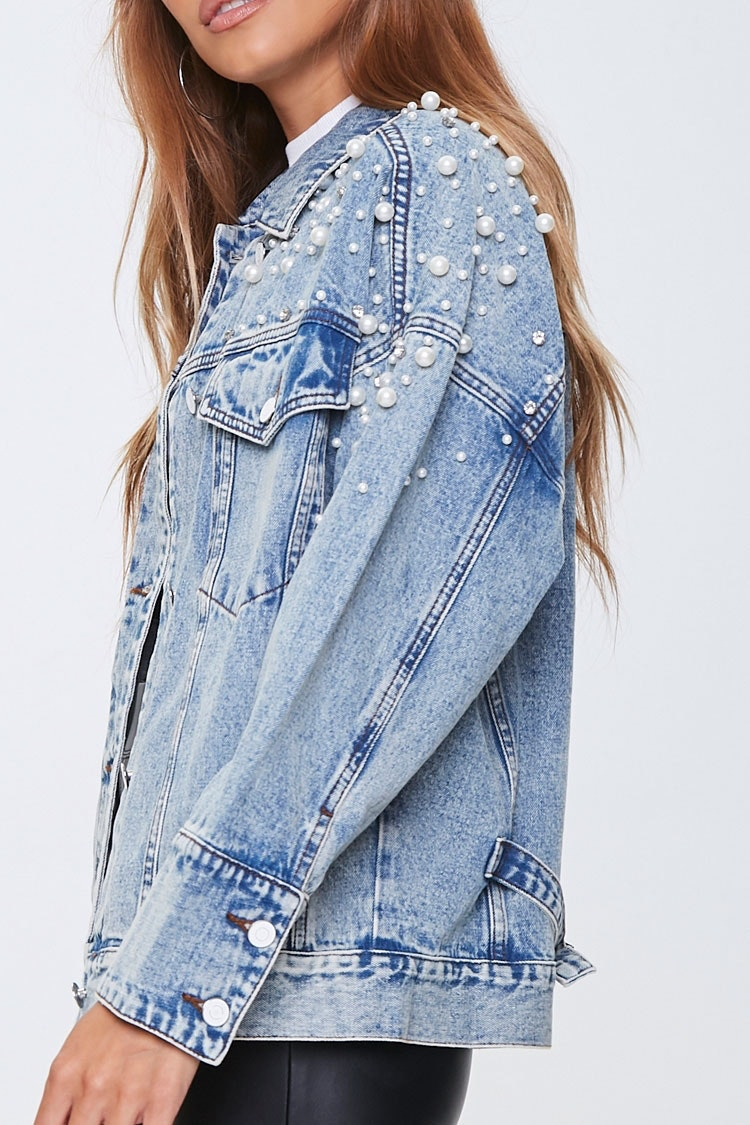 Vintage Denim Jean Cropped Jacket with Stud and Pearl Embellishments